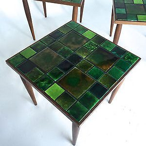 3 Vintage Mid Century Danish Modern Ceramic Tile Mosaic Stacking Nesting  Tables