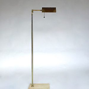 Vintage Mid Century Travertine Brass Pharmacy Floor Lamp Koch Lowy Hartman