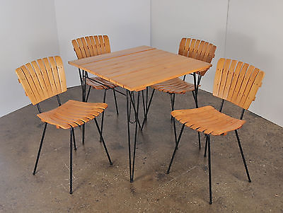 Arthur Umanoff Dinette Dining Set Wood Slat And Iron Table + 4 Chairs  Vintage
